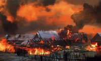 fantasy village on fire