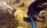 Blue dragon swoops in, breathes, lands, roars